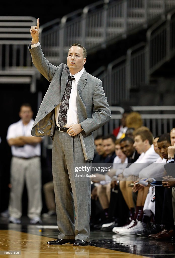Head coach Billy Kennedy of the Texas A&M Aggies reacts from the bench during the CBE Hall of Fame Classic against the Saint Louis Billikens at Sprint Center on November 19, 2012 in Kansas City, Missouri.