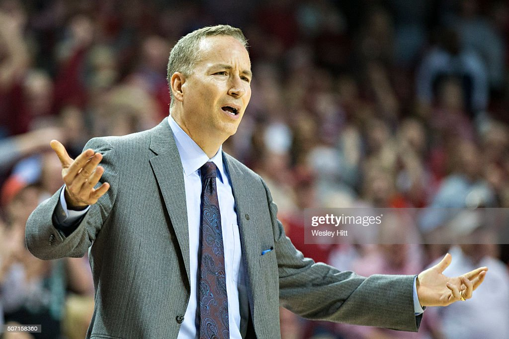Head coach Billy Kennedy of the Texas A&M Aggies reacts to a foul call during the second half of a game against the Arkansas Razorbacks at Bud Walton Arena on January 27, 2016 in Fayetteville, Arkansas. The Razorbacks defeated the Aggies 74-71.