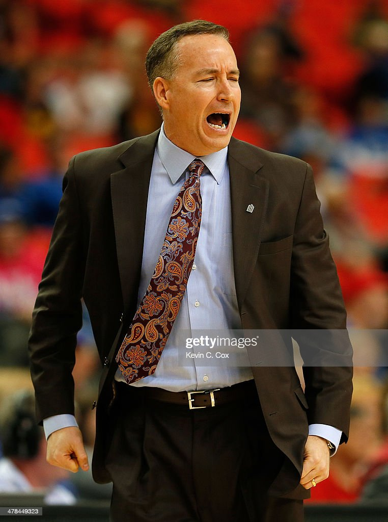 Head coach <a gi-track='captionPersonalityLinkClicked' href=/galleries/search?phrase=Billy+Kennedy+-+Basketbalcoach&family=editorial&specificpeople=15285545 ng-click='$event.stopPropagation()'>Billy Kennedy</a> of the Texas A&M Aggies reacts to a foul during the second round of the SEC Men's Basketball Tournament against the Missouri Tigers at Georgia Dome on March 13, 2014 in Atlanta, Georgia.