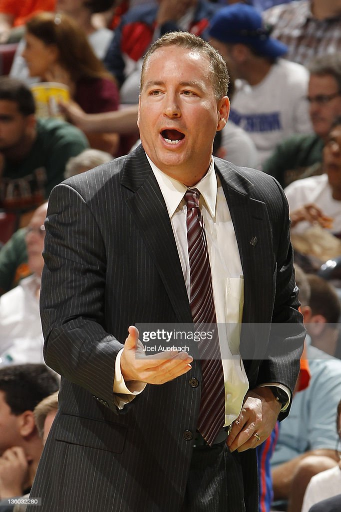 Head coach <a gi-track='captionPersonalityLinkClicked' href=/galleries/search?phrase=Billy+Kennedy+-+Treinador+de+basquetebol&family=editorial&specificpeople=15285545 ng-click='$event.stopPropagation()'>Billy Kennedy</a> of the Texas A&M Aggies reacts to game action against the Florida Gators at the Orange Bowl Basketball Classic on December 17, 2010 at the BankAtlantic Center in Sunrise, Florida. Florida defeated Texas A
