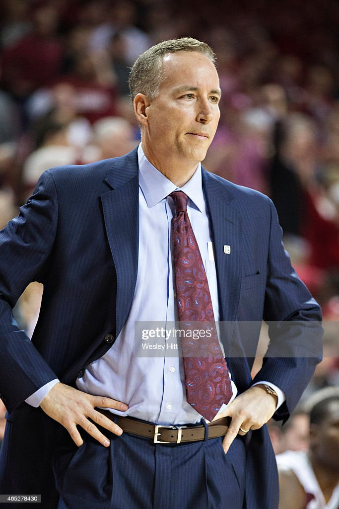 Head Coach <a gi-track='captionPersonalityLinkClicked' href=/galleries/search?phrase=Billy+Kennedy+-+Basketbalcoach&family=editorial&specificpeople=15285545 ng-click='$event.stopPropagation()'>Billy Kennedy</a> of the Texas A&M Aggies watches his team during a game against the Arkansas Razorbacks at Bud Walton Arena on February 24, 2015 in Fayetteville, Arkansas. The Razorbacks defeated the Aggies 81-75.
