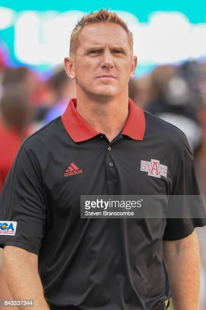 Head coach Blake Anderson of the Arkansas State Red Wolves on the field before the game against the Nebraska Cornhuskers at Memorial Stadium on...