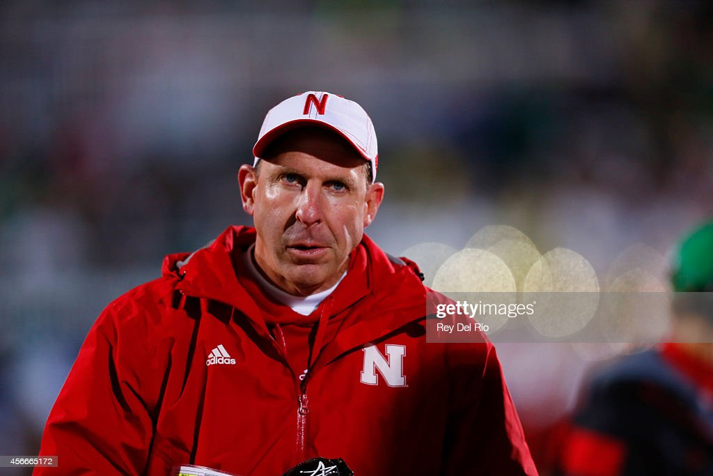 Head coach <a gi-track='captionPersonalityLinkClicked' href=/galleries/search?phrase=Bo+Pelini&family=editorial&specificpeople=4682479 ng-click='$event.stopPropagation()'>Bo Pelini</a> looks on while playing the Michigan State Spartans at Spartan Stadium on October 4, 2014 in East Lansing, Michigan.