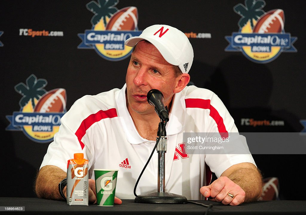 Head Coach Bo Pelini of the Nebraska Cornhuskers speaks to the media after the Capital One Bowl against the Georgia Bulldogs at the Citrus Bowl on January 1, 2013 in Orlando, Florida.
