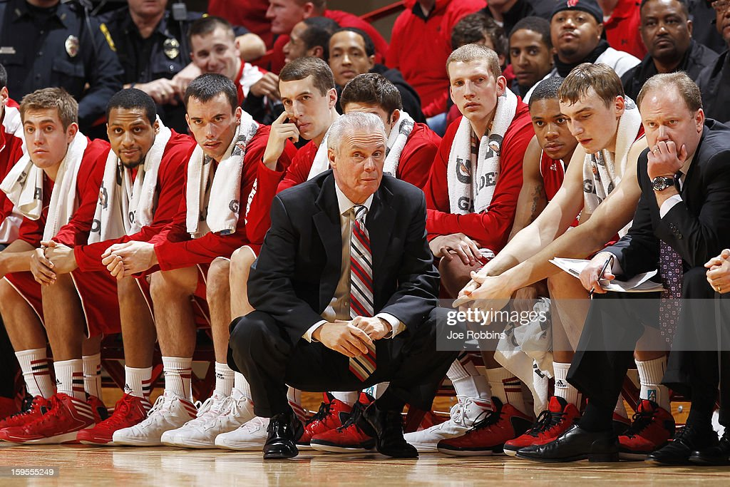 Head coach <a gi-track='captionPersonalityLinkClicked' href=/galleries/search?phrase=Bo+Ryan&family=editorial&specificpeople=198945 ng-click='$event.stopPropagation()'>Bo Ryan</a> of the Wisconsin Badgers looks on against the Indiana Hoosiers during the game at Assembly Hall on January 15, 2013 in Bloomington, Indiana. Wisconsin defeated Indiana 64-59.