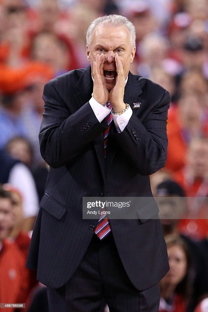 Head coach <a gi-track='captionPersonalityLinkClicked' href=/galleries/search?phrase=Bo+Ryan&family=editorial&specificpeople=198945 ng-click='$event.stopPropagation()'>Bo Ryan</a> of the Wisconsin Badgers reacts after a play in the second half against the Duke Blue Devils during the NCAA Men's Final Four National Championship at Lucas Oil Stadium on April 6, 2015 in Indianapolis, Indiana.