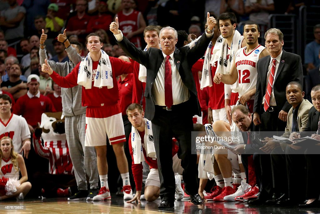 Head coach <a gi-track='captionPersonalityLinkClicked' href=/galleries/search?phrase=Bo+Ryan&family=editorial&specificpeople=198945 ng-click='$event.stopPropagation()'>Bo Ryan</a> of the Wisconsin Badgers reacts in the second half while taking on the North Carolina Tar Heels during the West Regional Semifinal of the 2015 NCAA Men's Basketball Tournament at Staples Center on March 26, 2015 in Los Angeles, California.