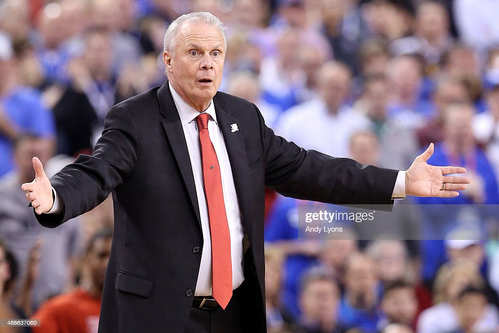 Head coach <a gi-track='captionPersonalityLinkClicked' href=/galleries/search?phrase=Bo+Ryan&family=editorial&specificpeople=198945 ng-click='$event.stopPropagation()'>Bo Ryan</a> of the Wisconsin Badgers reacts in the second half against the Kentucky Wildcats during the NCAA Men's Final Four Semifinal at Lucas Oil Stadium on April 4, 2015 in Indianapolis, Indiana.