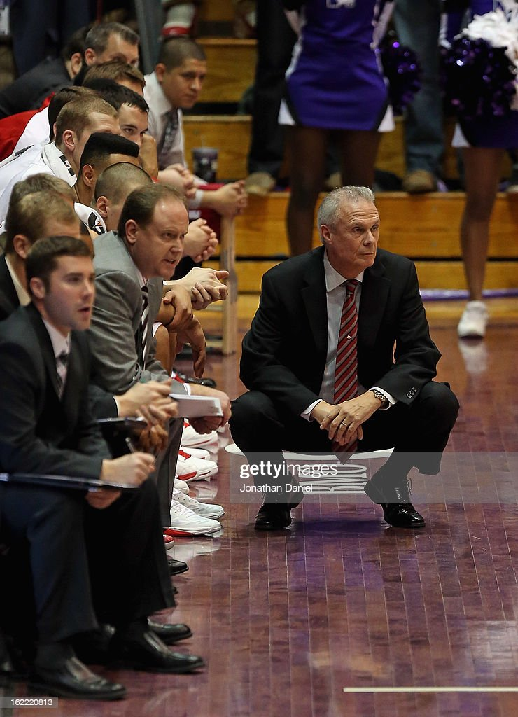 Head coach <a gi-track='captionPersonalityLinkClicked' href=/galleries/search?phrase=Bo+Ryan&family=editorial&specificpeople=198945 ng-click='$event.stopPropagation()'>Bo Ryan</a> of the Wisconsin Badgers watches as his team takes on the Northwestern Wildcats at Welsh-Ryan Arena on February 20, 2013 in Evanston, Illinois. Wisconsin defeated Northwestern 69-41.