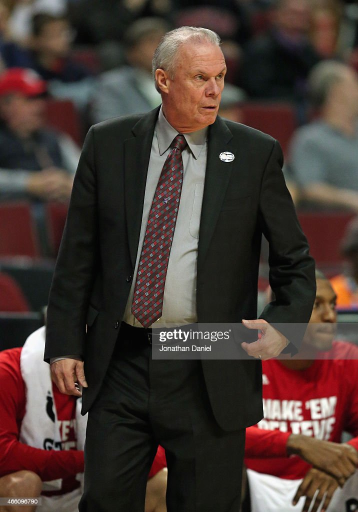 Head coach <a gi-track='captionPersonalityLinkClicked' href=/galleries/search?phrase=Bo+Ryan&family=editorial&specificpeople=198945 ng-click='$event.stopPropagation()'>Bo Ryan</a> of the Wisconsin Badgers watches as his team takes on the Michigan Wolverines during the quarterfinal round of the 2015 Big Ten Men's Basketball Tournament at the United Center on March 13, 2015 in Chicago, Illinois.