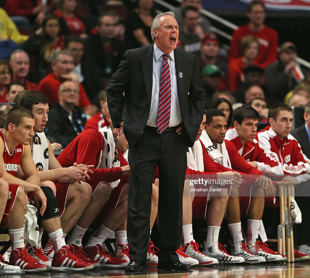 Head coach Bo Ryan of the Wisconsin Badgers yells out instruction to his team during the Big Ten Basketball Tournament Championship game against the Ohio State Buckeyes at United Center on March 17, 2013 in Chicago, Illinois. Ohio State defeated Wisconsin 50-43.