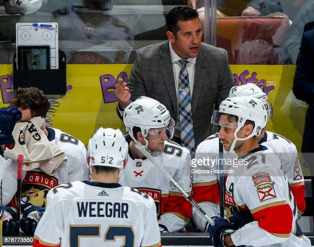 Head coach Bob Boughner of the Florida Panthers talks to his players during the second period of the game against the Anaheim Ducks at Honda Center...