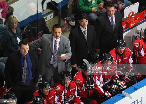 Head Coach Bob Boughner of the Windsor Spitfires appears to dislike a play in a game against the London Knights on October 7 2011 at the John Labatt...