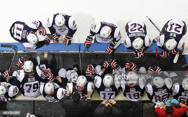 Head coach Bob Boughner of the Windsor Spitfires gives instructions during stoppage against the London Knights in Game One of the OHL Western...