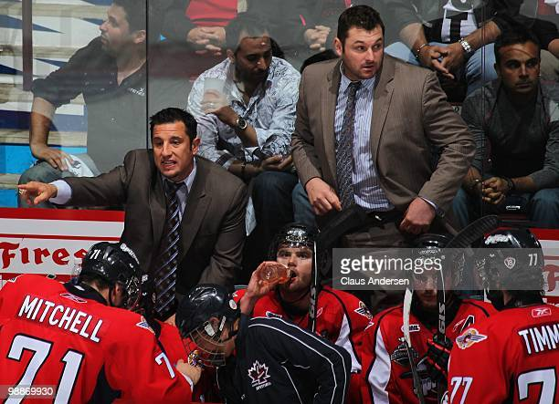 Head Coach Bob Boughner of the Windsor Spitfires gives instructions in the 4th game of the OHL Championship Final against the Barrie Colts on May...