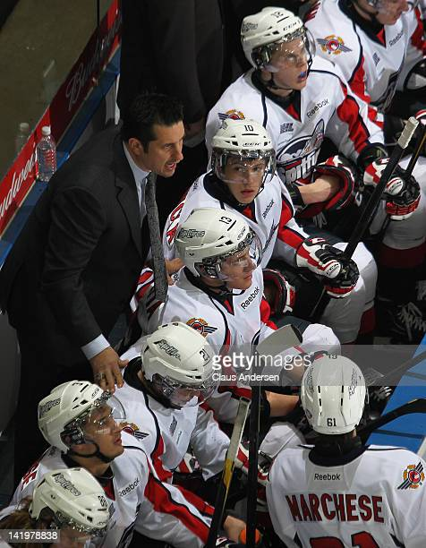 Head coach Bob Boughner of the Windsor Spitfires shouts instructions in game 3 of the Western Conference quarterfinal against the London Knights on...