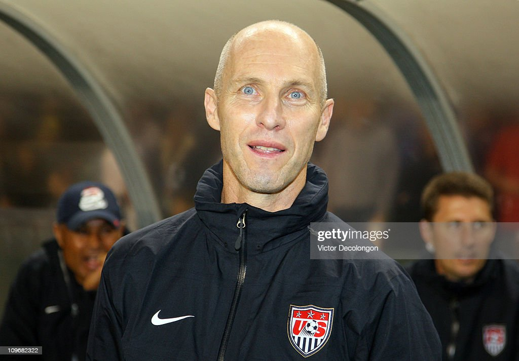 Head Coach <a gi-track='captionPersonalityLinkClicked' href=/galleries/search?phrase=Bob+Bradley&family=editorial&specificpeople=685515 ng-click='$event.stopPropagation()'>Bob Bradley</a> of the United States looks on from the bench area just prior to the International Men's Friendly match against Chile at The Home Depot Center on January 22, 2011 in Carson, California. Chile and the United States played to a 1-1 draw.
