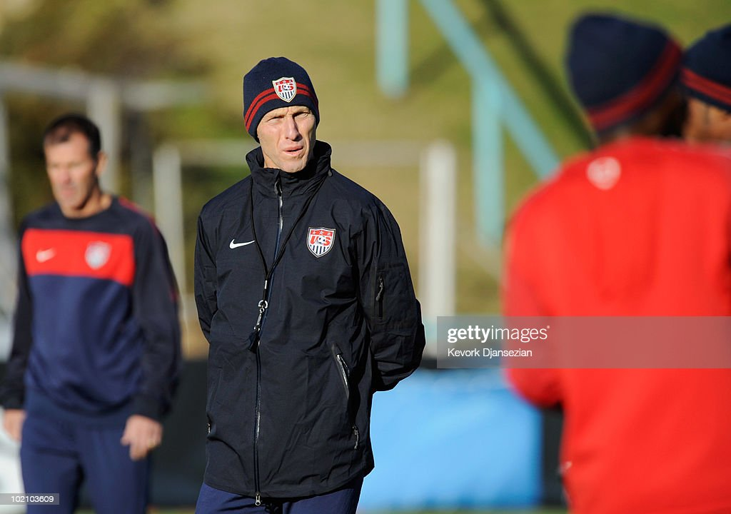 Head coach Bob Bradley of US national football team looks on during training session on June 15, 2010 in Pretoria, South Africa. US will play their next World Cup Group C match against Slovenia on Friday June 18, 2010.
