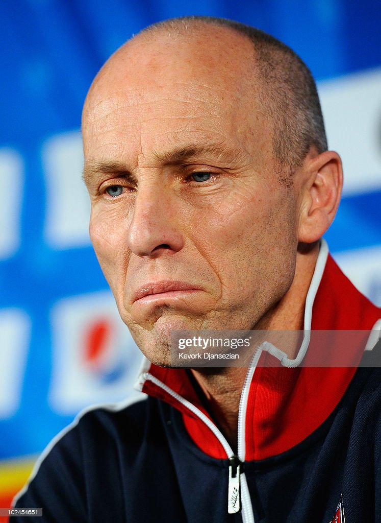 Head coach <a gi-track='captionPersonalityLinkClicked' href=/galleries/search?phrase=Bob+Bradley&family=editorial&specificpeople=685515 ng-click='$event.stopPropagation()'>Bob Bradley</a> of USA reacts during his last 2010 World Cup press conference at Irene Farm on June 27, 2010 in Irene south of Pretoria, South Africa.