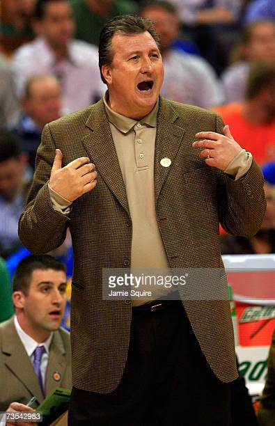 Head coach Bob Huggins of the Kansas State Wildcats yells from the bench against the Kansas Jayhawks during the semifinal game of the Phillips 66 Big...