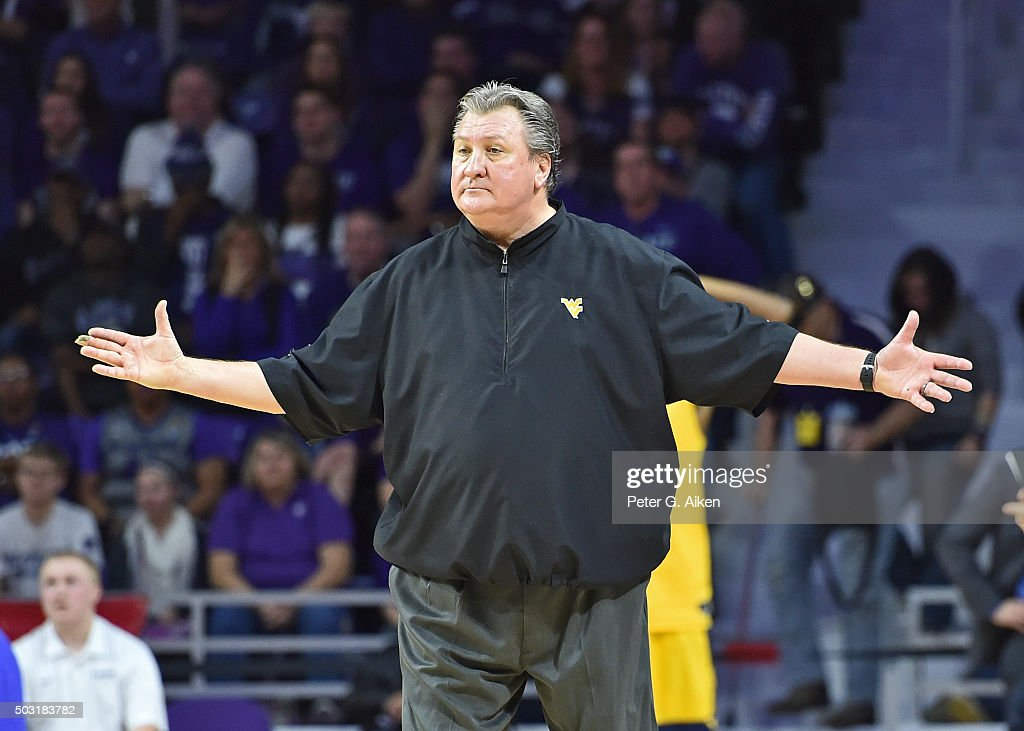 Head coach <a gi-track='captionPersonalityLinkClicked' href=/galleries/search?phrase=Bob+Huggins&family=editorial&specificpeople=2230174 ng-click='$event.stopPropagation()'>Bob Huggins</a> of the West Virginia Mountaineers reacts after a call against the Mountaineers during the second half against the Kansas State Wildcats on January 2, 2016 at Bramlage Coliseum in Manhattan, Kansas. West Virginia defeated Kansas State in double overtime 87-83.