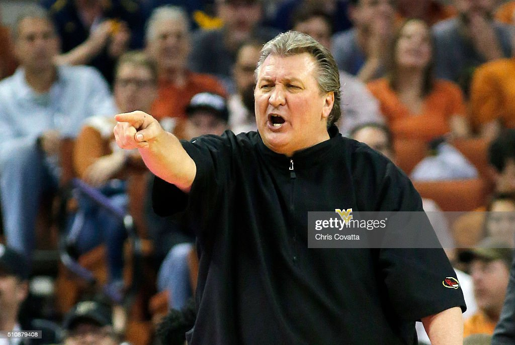 Head coach <a gi-track='captionPersonalityLinkClicked' href=/galleries/search?phrase=Bob+Huggins&family=editorial&specificpeople=2230174 ng-click='$event.stopPropagation()'>Bob Huggins</a> of the West Virginia Mountaineers reacts as his team plays the Texas Longhorns at the Frank Erwin Center on February 16, 2016 in Austin, Texas.