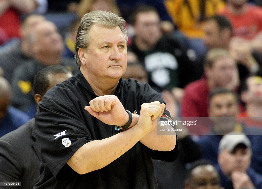 Head coach <a gi-track='captionPersonalityLinkClicked' href=/galleries/search?phrase=Bob+Huggins&family=editorial&specificpeople=2230174 ng-click='$event.stopPropagation()'>Bob Huggins</a> of the West Virginia Mountaineers reacts in the second half against the Maryland Terrapins during the third round of the 2015 NCAA Men's Basketball Tournament at Nationwide Arena on March 22, 2015 in Columbus, Ohio.