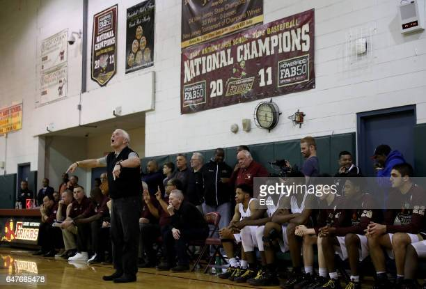 Head coach Bob Hurley of the St Anthony Friars directs his players against the Montclair Immaculate Lions during the 2017 NJSIAA Boy's Basketball...
