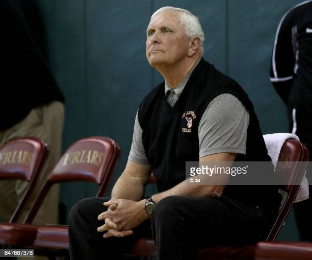 Head coach Bob Hurley of the St Anthony Friars looks on from the bench before the game against the Monclair Immaculate Lions during the 2017 NJSIAA...