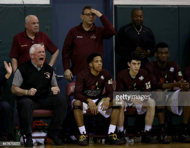 Head coach Bob Hurley of the St Anthony Friars reacts in the first quarter against the Montclair Immaculate Lions during the 2017 NJSIAA Boy's...
