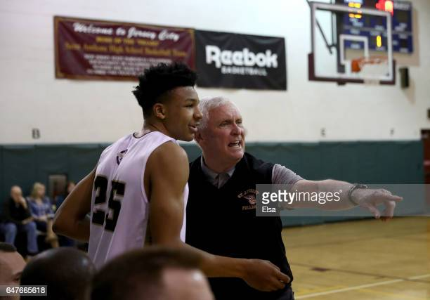Head coach Bob Hurley of the St Anthony Friars sends in Ithiel Horton of the Friars in the game against the Monclair Immaculate Lions during the 2017...