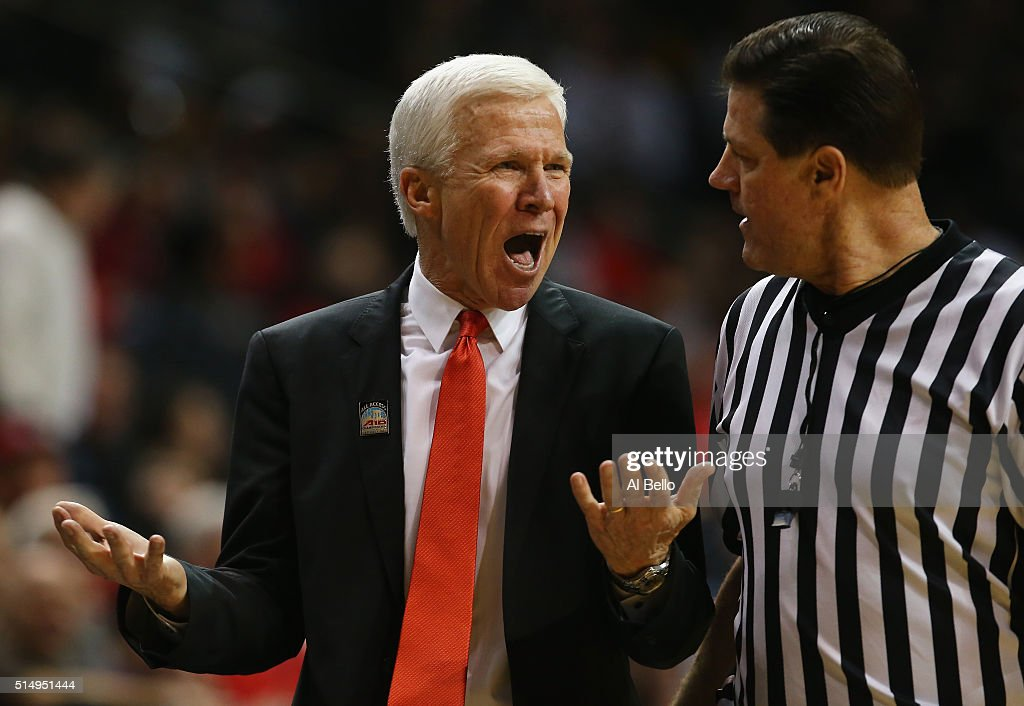 Head coach Bob McKillop of the Davidson Wildcats argues a call during the game against the St Bonaventure Bonnies during the Quarterfinals of the...
