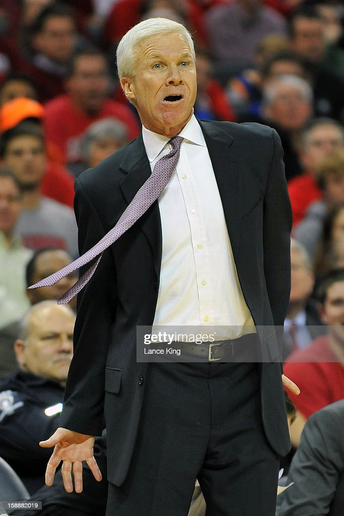 Head Coach Bob McKillop of the Davidson Wildcats gestures from the sideline against the Duke Blue Devils at Time Warner Cable Arena on January 2, 2013 in Charlotte, North Carolina.