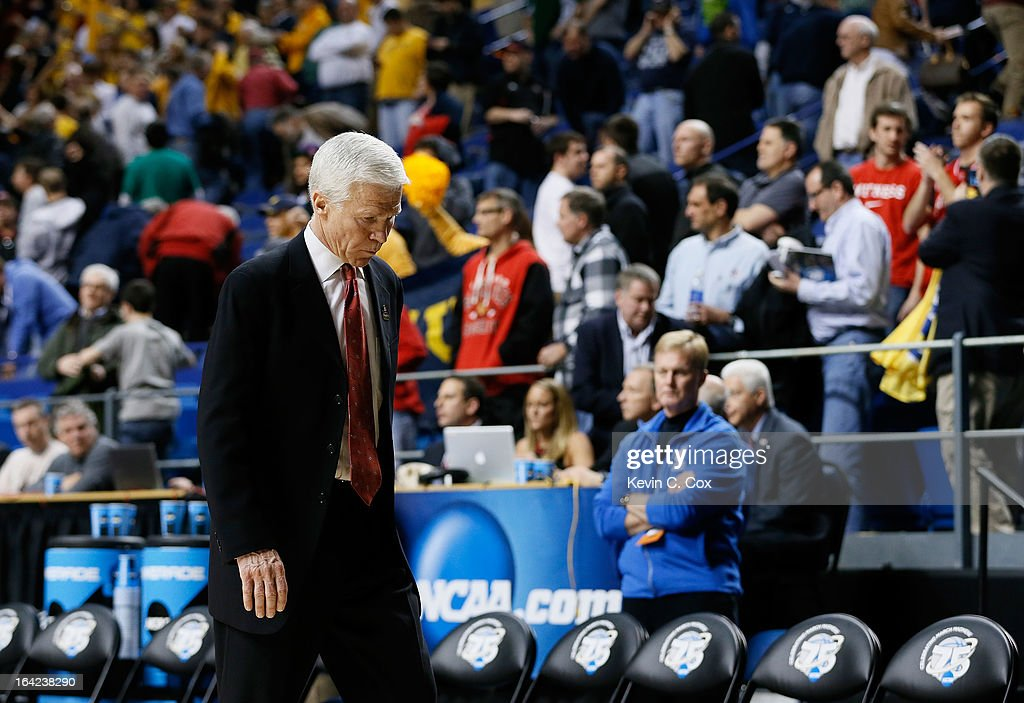 Head coach Bob McKillop of the Davidson Wildcats walks off the court after losing 59-58 to the Marquette Golden Eagles during the second round of the 2013 NCAA Men's Basketball Tournament at the Rupp Arena on March 21, 2013 in Lexington, Kentucky.