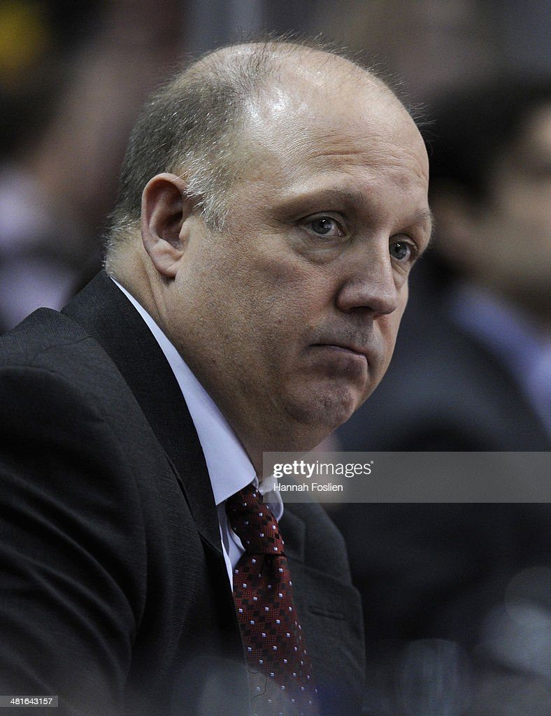Head coach Bob Motzko of the St. Cloud State Huskies looks on during the second period of the final game against the Minnesota Golden Gophers in the West Regional of the 2014 NCAA Division I Men's Ice Hockey Championship on March 30, 2014 at Xcel Energy Center in St Paul, Minnesota. The Minnesota Golden Gophers defeated the St. Cloud State Huskies 4-0.