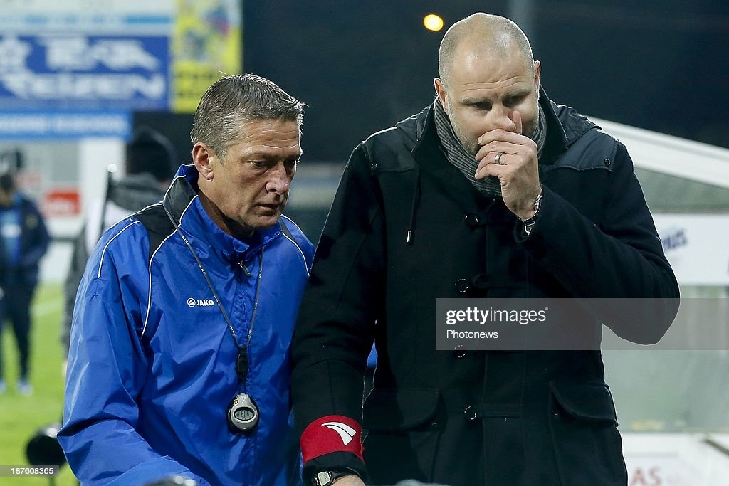 Head coach Bob Peeters of Waasland Beveren and ass. coach Alex Czerniatynski during the Jupiler Pro League match between Zulte Waregem and Waasland Beveren on November 10, 2013 in Waregem, Belgium.