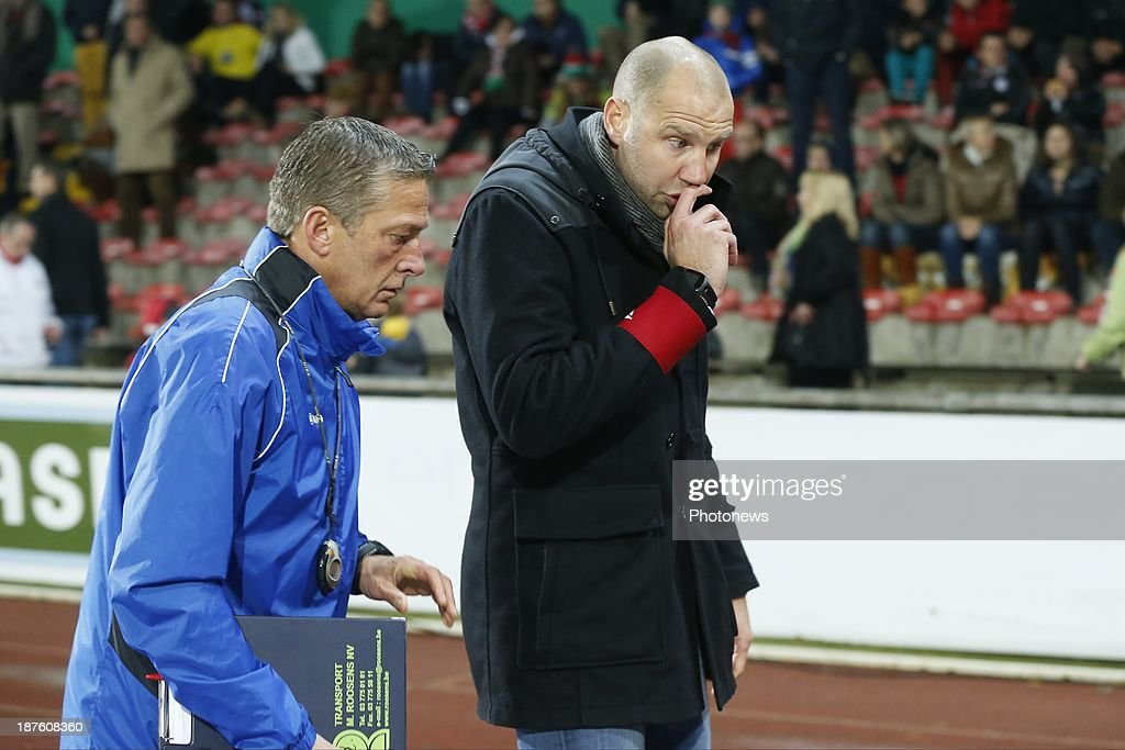 Head coach Bob Peeters of Waasland Beveren and ass. coach Alex Czerniatynski of Waasland Beveren during the Jupiler Pro League match between Zulte Waregem and Waasland Beveren on November 10, 2013 in Waregem, Belgium.