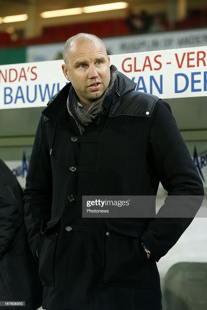 Head coach Bob Peeters of Waasland Beveren during the Jupiler Pro League match between Zulte Waregem and Waasland Beveren on November 10, 2013 in Waregem, Belgium.