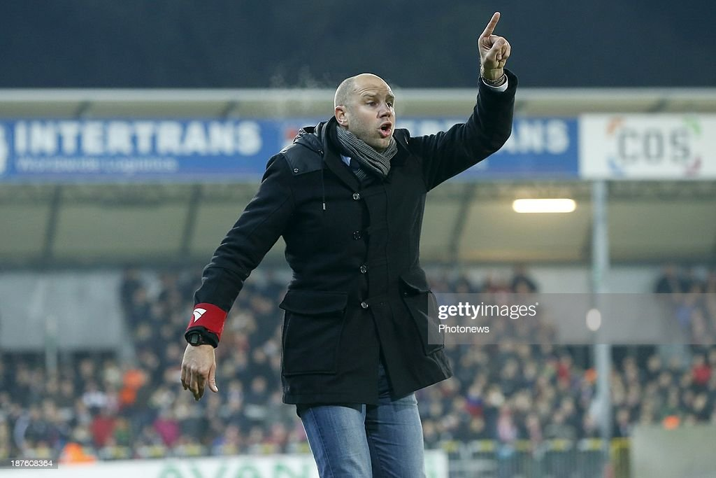Head coach Bob Peeters of Waasland Beveren during the Jupiler Pro League match between Zulte Waregem and Waasland Beveren on November 10, 2013 in Waregem, Belgium.