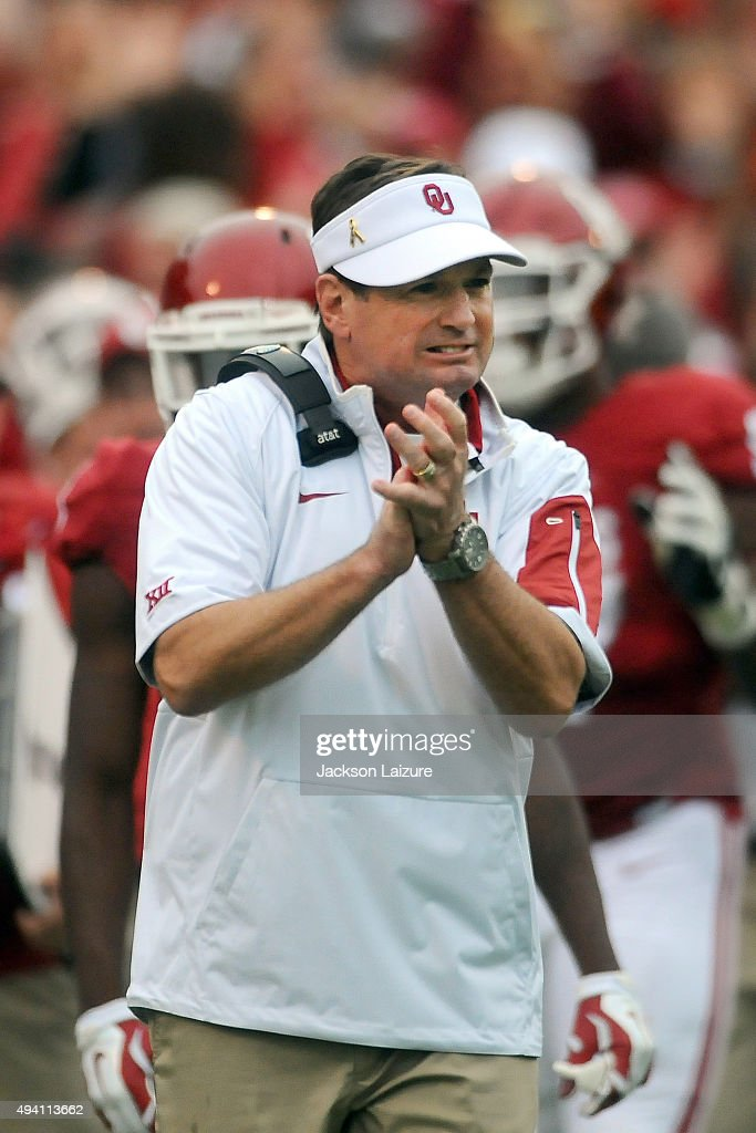 Head Coach Bob Stoops of the Oklahoma Sooners celebrates an interception against the Texas Tech Red Raiders on October 24, 2015 at the Gaylord Family Oklahoma Memorial Stadium in Norman, Oklahoma.