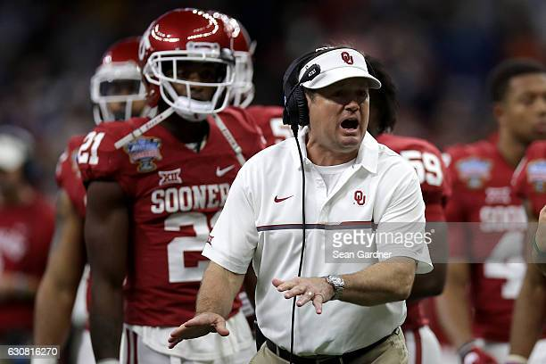 Head coach Bob Stoops of the Oklahoma Sooners looks on during the Allstate Sugar Bowl at the MercedesBenz Superdome on January 2 2017 in New Orleans...