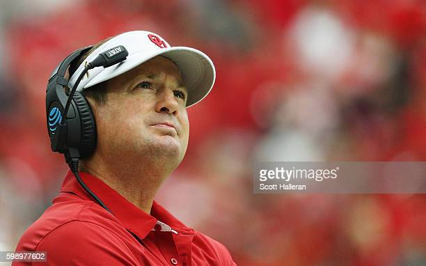 Head coach Bob Stoops of the Oklahoma Sooners waits near the sideline during the second half of their game against the Houston Cougars during the...