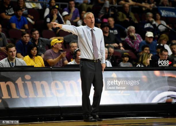 Head coach Bobby Hurley of the Arizona State Sun Devils calls to his team during the championship game of the 2017 Continental Tire Las Vegas...