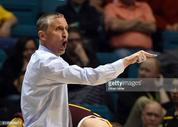 Head coach Bobby Hurley of the Arizona State Sun Devils gestures during a firstround game of the Pac12 Basketball Tournament against the Oregon State...