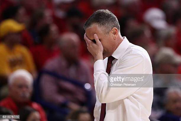 Head coach Bobby Hurley of the Arizona State Sun Devils reacts during the second half of the college basketball game against the Arizona Wildcats at...