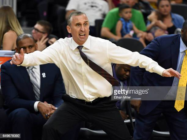 Head coach Bobby Hurley of the Arizona State Sun Devils reacts during a firstround game of the Pac12 Basketball Tournament against the Stanford...