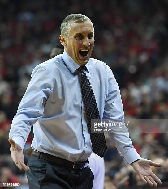 Head coach Bobby Hurley of the Arizona State Sun Devils reacts to an official's call during his team's game against the UNLV Rebels at the Thomas...