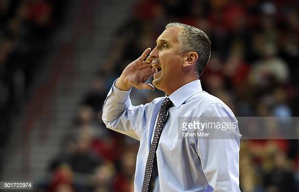 Head coach Bobby Hurley of the Arizona State Sun Devils yells to his players during their game against the UNLV Rebels at the Thomas Mack Center on...