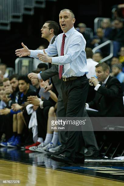 Head Coach Bobby Hurley of the Buffalo Bulls argues a call during the second round of the 2015 NCAA Men's Basketball Tournament at Nationwide Arena...