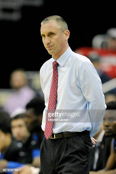Head coach Bobby Hurley of the Buffalo Bulls looks on during the second round of the 2015 NCAA Men's Basketball Tournament against the West Virginia...